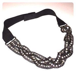 🗻J. CREW glitzy glam elastic band encrusted belt